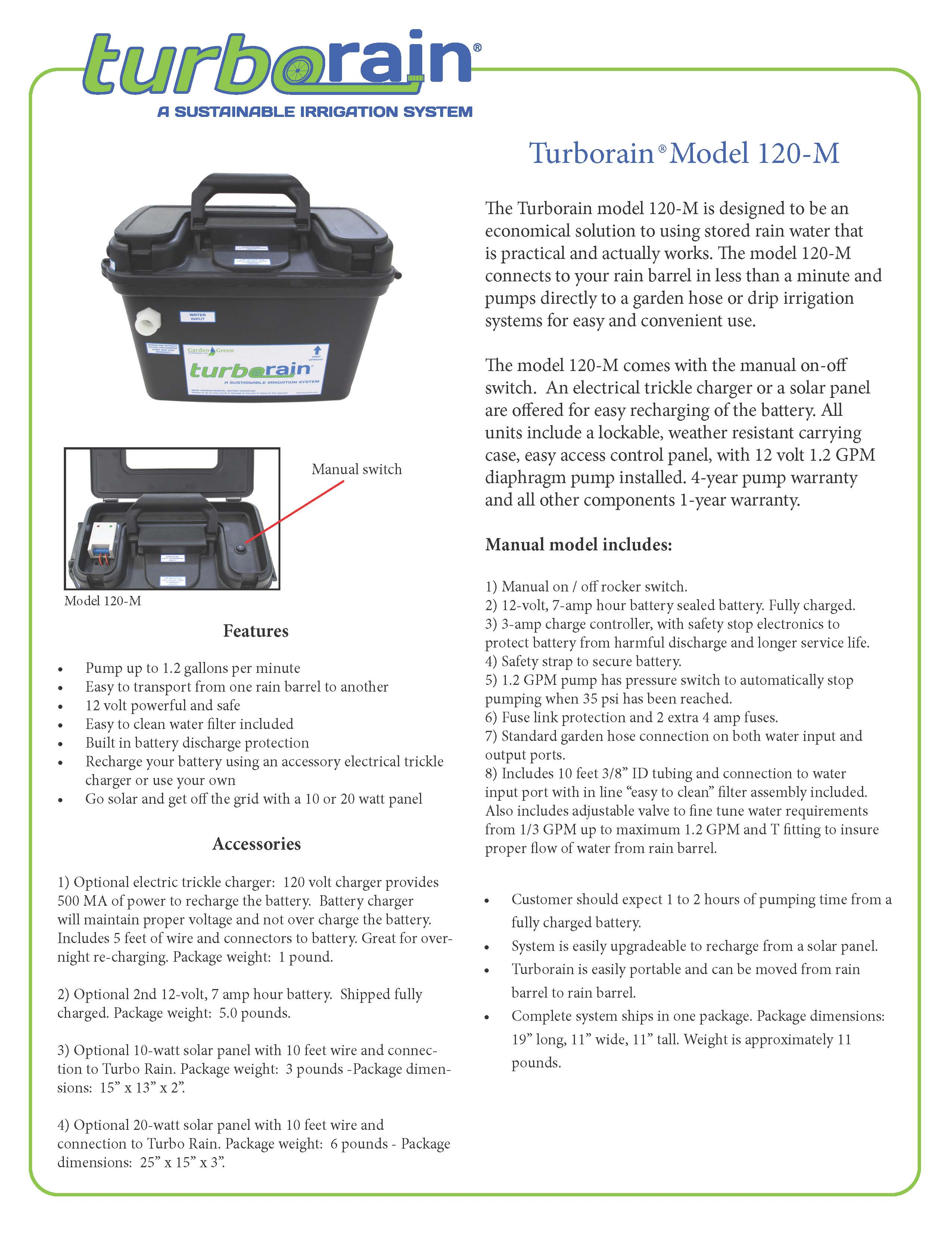 TurboRain, Manual, 1 2 gallon per minute [abpWPTRS120m