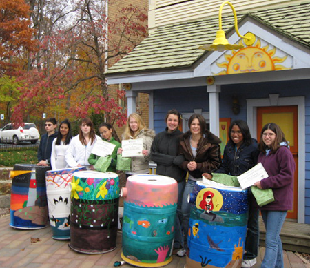 Painted rain barrel winners Burris Laboratory School, Muncie IN