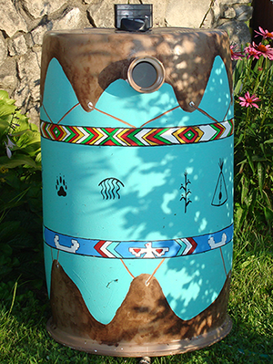 Rain Barrel painted by Toni Cecil Muncie -Delaware Stormwater Management