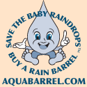 Aquabarrel Logo Save the Baby Raindrops