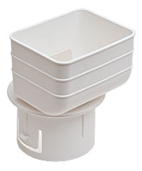 Universal downspout Adapter: 2x3x3 inches white