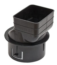 Universal Downspout Tile Adapter 2x3x4 Black