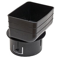 Universal Downspout Tile Adapter 3x4x4 Black