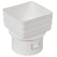 Universal downspout Adapter: 3x4x4 inches white