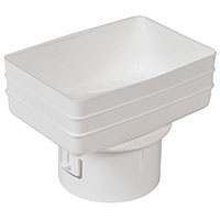 Universal downspout Adapter: 4x6x4 inches white