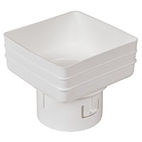 Universal downspout Adapter: 5x5x4 inches white