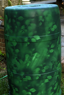 image painted rain barrel
