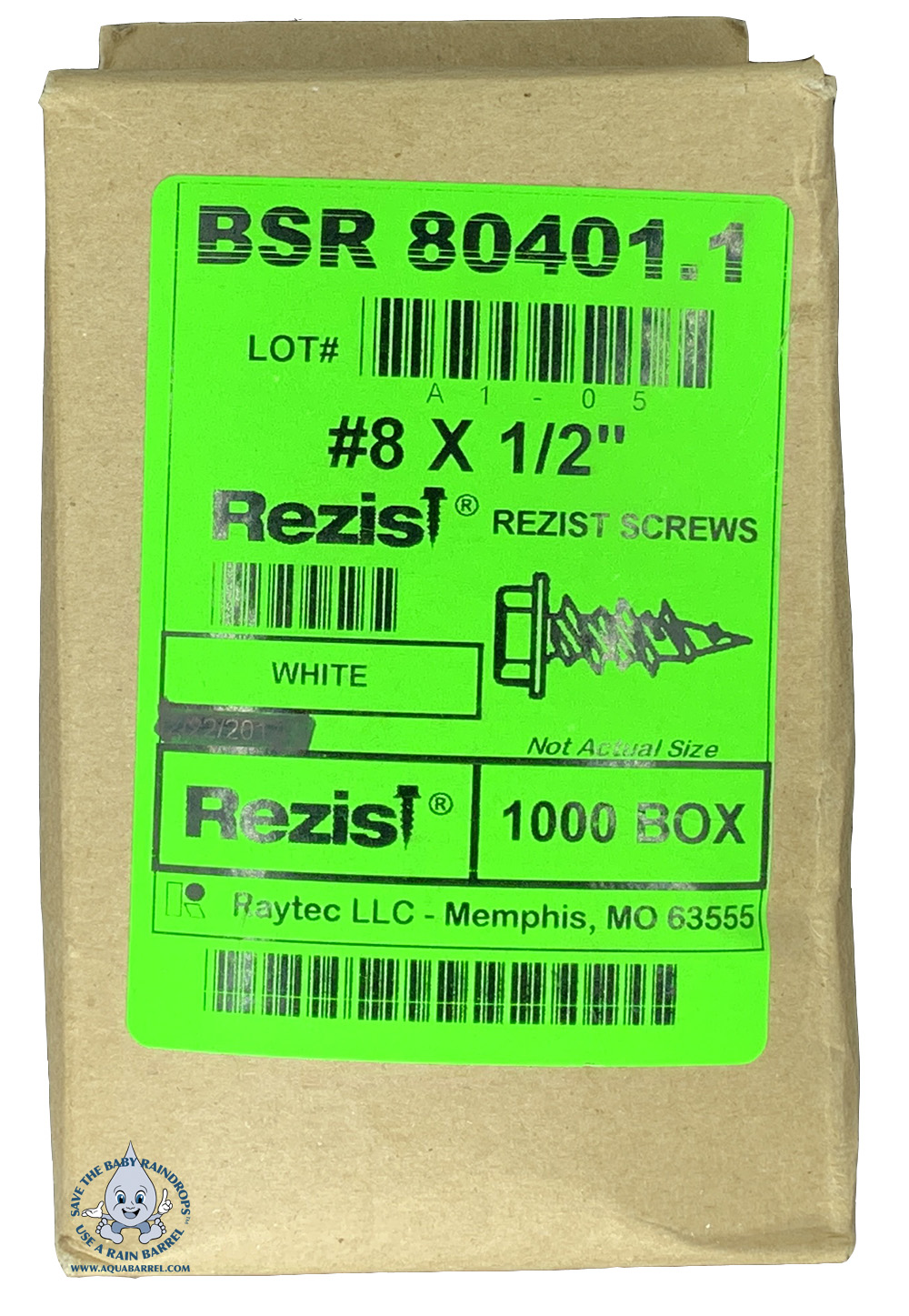 Box of 1000 Rezist gutter screws #8 x 1/2""